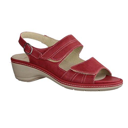 Slowlies 419-135 - Zapatos mujer Sandalia cómodo / relleno suelto, Rojo, cuero (nubuc)