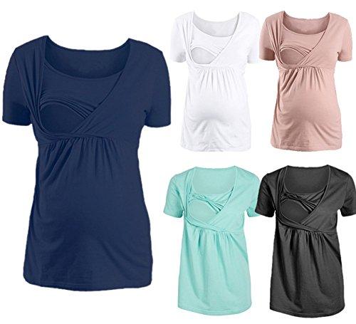 b67624c1d8a2 Premaman 1 Taglio Impero Scuro L allattamento Donna Maglietta shirt In  Maglia Per 2 Top Blu ...