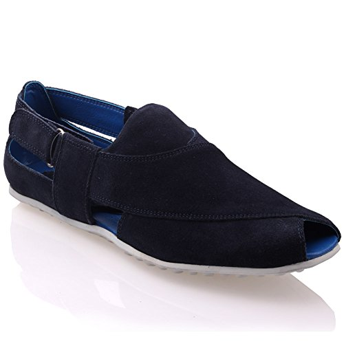 Unze Mens Peshawari moccasin Leather suede slipon – G00552