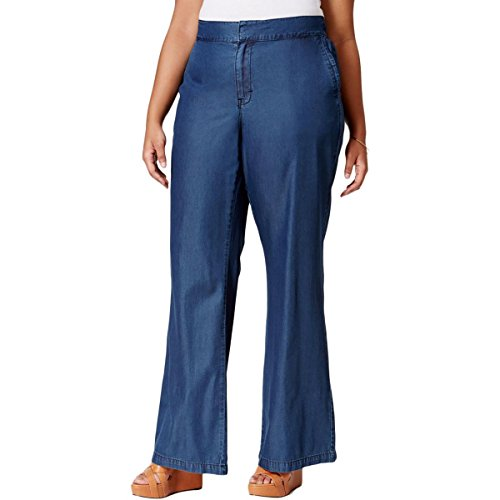 Melissa McCarthy Seven7 Womens Plus Flare Chambray Wide Leg Pants Blue 22W (Wide Leg Career Pant)