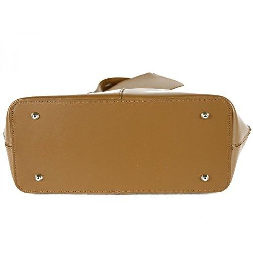 Handtasche Aus Echtem Leder Farbe Cognac - Italienische Lederwaren - Damentasche