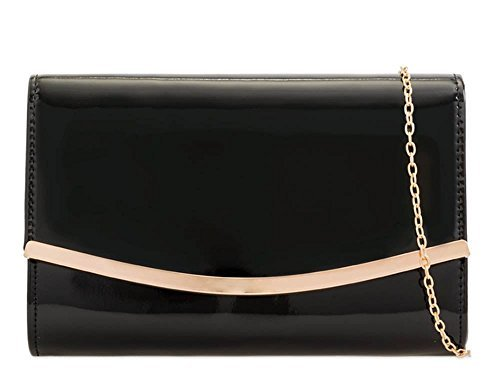 Leather Bag Prom Black Purse Patent Trim Metallic Clutch Faux Ladies Bridal wxR6PyqEx