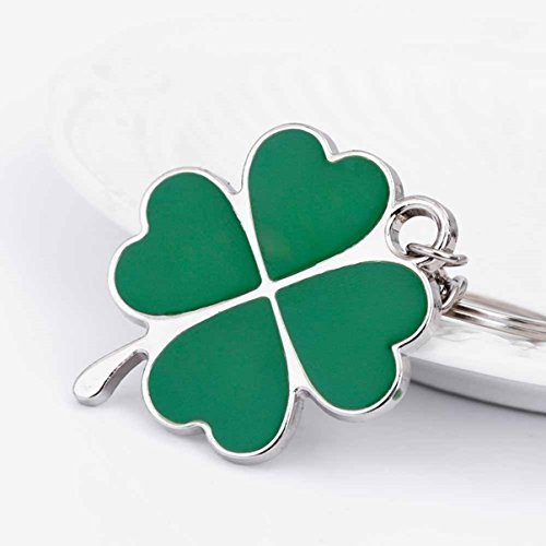 1 Set Stainless Steel Lucky Green Clover Leaf Keychain Pendants Women Love Heart Wrist Wristlet Key Ring Culmination Popular Pocket Teenagers Bag Car (Clover Key Pendant)