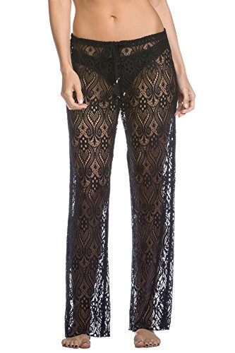 abcebe9a96 Miken Womens Lace Wide Leg Pants Swim Cover-Up White L < Cover-Ups ...
