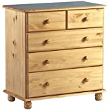 Sol Antique Pine 5 Drawer Chest - 2 Over 3 Drawers - Spacious Chest of Drawers
