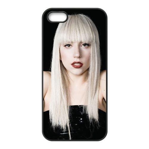 Lady Gaga 001 coque iPhone 5 5S cellulaire cas coque de téléphone cas téléphone cellulaire noir couvercle EOKXLLNCD25405