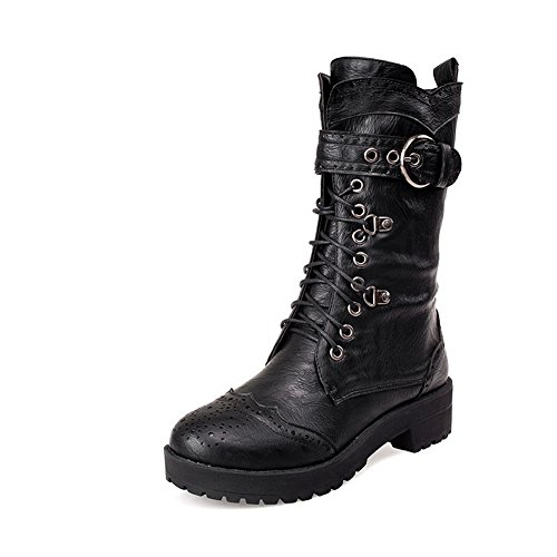 1TO9 Ladies Bandage Hollow Out Leopard Pattern Buckle Imitated Leather Boots