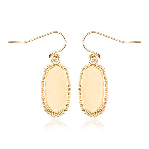 RIAH FASHION Lightweight Acrylic Stone Druzy Crystal Oval Drop Earrings - Sparkly Geometric Polygon Hook Dangles Hexagon, Decagon (Oval Hexagon Mini - Ivory)