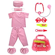 Kids Doctor Role Play Costume Set fedio Kids Scrubs with Doctor Medical Kit for Toddler Children Ages 3-5 (Pink)