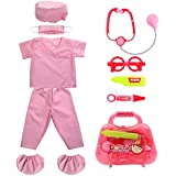 fedio Kid's Scrubs Doctor Role Play Costume Dress up Set With Doctor Medical Kit For Toddler children Ages 3-5