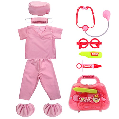 Kid's Scrubs fedio Doctor Role Play Costume Dress up Set with Doctor Medical Kit for Toddler Children Ages 3-5 (Hot Pink) -