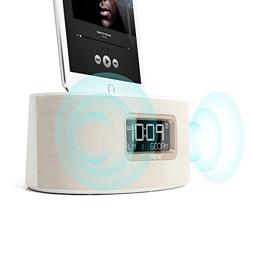 ihome idl46whc ipad iphone ipod dual charging stereo fm clock radio with lightning connector. Black Bedroom Furniture Sets. Home Design Ideas