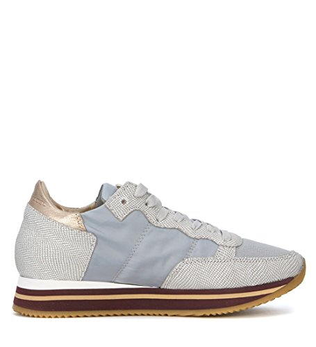 Philippe Model Womens Tropez Higher Bronze and Grey Fabric Sneaker Grey e9UPj9vv