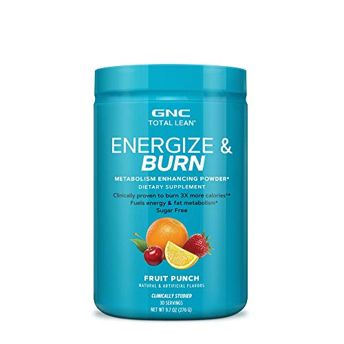 GNC Total Lean Energize and Burn, Fruit Punch, 30 Servings, Fuels Energy and Fat Metabolism