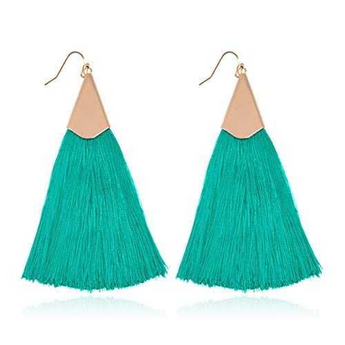 Bohemian Silky Thread Fan Fringe Tassel Statement Earrings - Lightweight Strand Feather Shape Dangles, Long Chain Necklace Set (Classic Tassel - Turquoise) (Best Price Perfume Gift Sets)