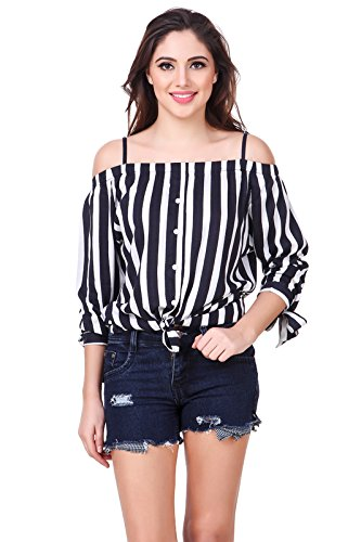 e7bba76c1744e Brand Me Up women Black and white striped off shoulder cold shoulder top -  XL Size
