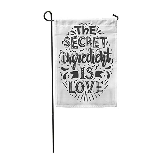Tarolo Decoration Flag Red 80S Sayings The Secret Ingredient is Love Motivational of Lettering Phrase Conceptual Black Thick Fabric Double Sided Home Garden Flag 12
