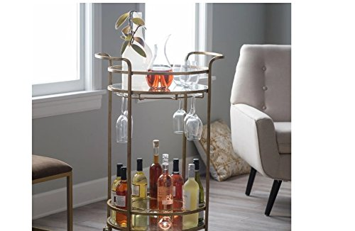 Olivia Round Bar Cart w/Shimmering Glass Top Made w/ Tempered Glass and Iron in Gold Powder-Coat Finish 24W x 19D x 36H in. (Cart Sale Bar)