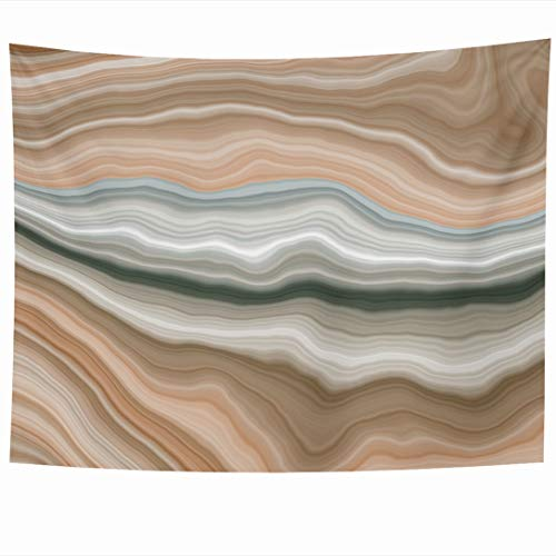 Ahawoso Tapestry 90x60 Inch Cream Brown Stone Wide Onyx Slice Marble Nature Gem Green Agate Section Streak Arabic Aragonite Wall Hanging Home Decor for Living Room Bedroom Dorm