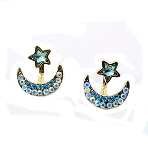 DZT1968 Women Girl Wicary Post-hanging Star and Moon crystal Stud Earring (Blue)