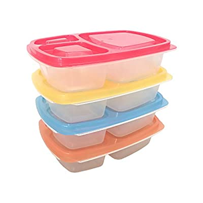 Prefer Green 3-Compartment Bento Lunch Box Containers, Leakproof, Food Storage Containers,Set of 4
