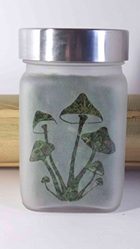 Magic Mushroom Etched Glass Stash Jar & Herb Storage