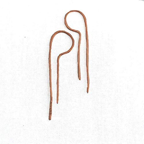 Lila - Copper Drop Threader Earrings - 1 3/4