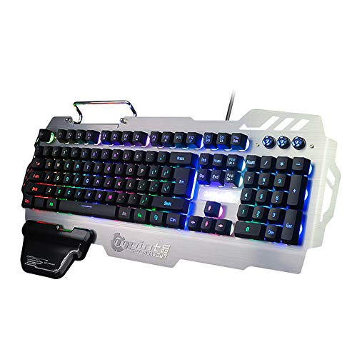 Colorful Backlit Gaming Keyboard - FN Multi-Functional Combination, Metal Mobile Phone Holder, Ergonomic Hand Rest, Waterproof, Suitable for Windows PC Gamers and Offices