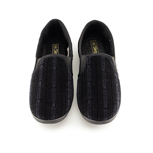 Sleepers SEAN Mens Velour Memory Foam Slippers Black Black 4iM490AwT