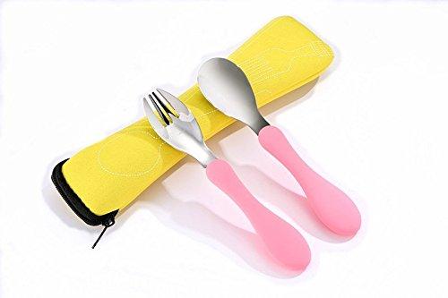 Yi PF G star Creative kids cutlery household stainless steel fork spoon Non-slip matte handle design dessert stir feeding spoon (a set of 2pcs- pink) (G Star Kids)