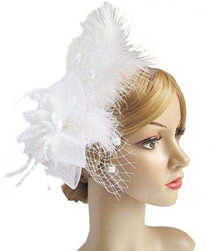 White Hats And Fascinators (Women's Fascinator Hair Clip Feather Wedding Headware Bridal 1920s Headpiece(White))