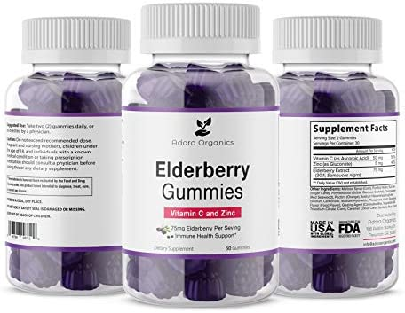 Adora Organics Elderberry Gummies Vitamin C and Zinc- 75mg Elderberry Per Serving- Immune Support- Gluten Free.