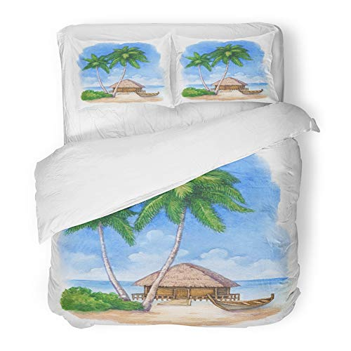 Emvency Bedding Duvet Cover Set Full/Queen Size (1 Duvet Cover + 2 Pillowcase) Hut Watercolor of The Tropical Beach Hawaii Vintage Aloha Bar Boat Bungalow Hotel Quality Wrinkle by Emvency