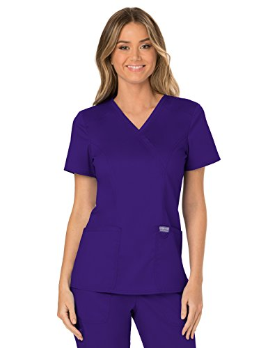 (Cherokee WW Revolution WW610 Mock Wrap Top Grape M)