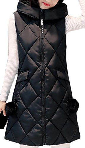 Quilted Full Ladies Vest Zip (Pivaconis Women's Hooded Casual Full Zip Quilted Puffer Long Down Vest Black L)