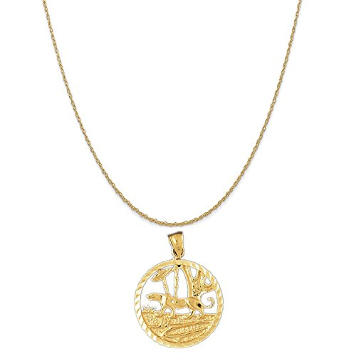 14k Yellow Gold Tiger in the Woods Pendant on a 14K Yellow Gold Rope Chain Necklace, 16
