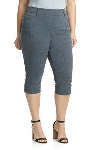 (Rekucci Women's Ease in to Comfort Curvy Fit Plus Size Capri w/Tummy Control (20W,Charcoal))