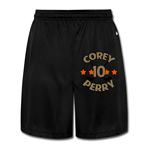 ZZYY Mens Soft Coperry No.10 Ice Hockey Player Short Pants Hip Hop Black Size L