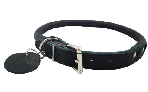 """Genuine Leather Rolled Dog Collar 13""""-16"""" neck size, Chow Chow, Collie, Labrador, Pappies"""