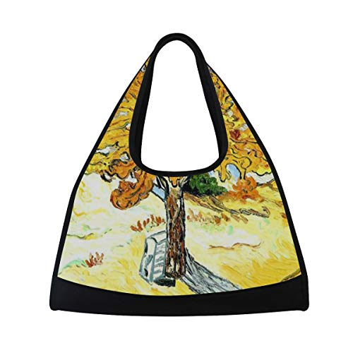 Sports Bag Mulberry Tree Plant Oil Painting Yellow Blue Mens Duffle Luggage Travel Bags Womens Lightweight Gym ()