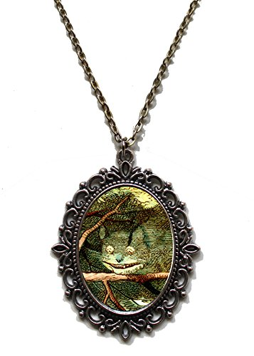 Victorian Vault Art Painting Alice in Wonderland Steampunk Pendant Necklace on Chain (029 Cheshire (Goth Cheshire Cat Costume)