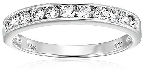 Vir Jewels Certified SI2-I1 1/2 cttw Classic Diamond Wedding Band 14K White Gold Channel Size 6