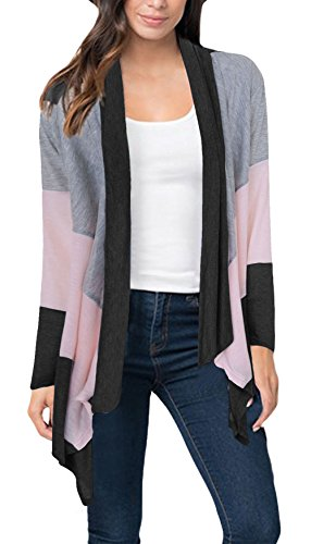 Twippo Women's Open Front Drape Hem Lightweight Cardigan Summer Wrap Black M by Twippo