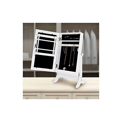 Schmuckschrank mit Spiegel Spiegelschrank Schmuckkasten Schmuckkästchen Standspiegel Schmuckkommode Schmuck Spiegel Holz Weiß