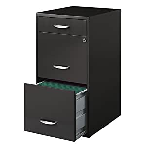 Hirsh soho 3 drawer file cabinet in charcoal for Kitchen cabinets amazon