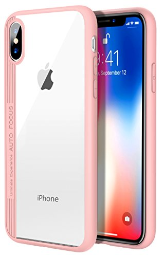 For iPhone X Case / iPhone 10 Case, MoKo Clear Slim Fit Shockproof Hybrid Thin Lightweight TPU Bumper Cover with Transparent Rugged PC Panel for Apple iPhone X 2017 – Pink For Sale