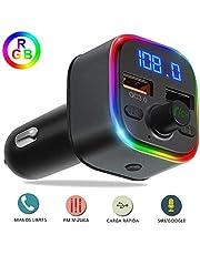 YiYunTE Transmisor FM Bluetooth 5.0 para Coche Manos Libres Cargador Carga Rápida QC3.0 Mechero Coche Adaptador Inalámbrico Reproductor MP3 Adaptador de Radio para Coche Soporte Tarjeta SD Disco U