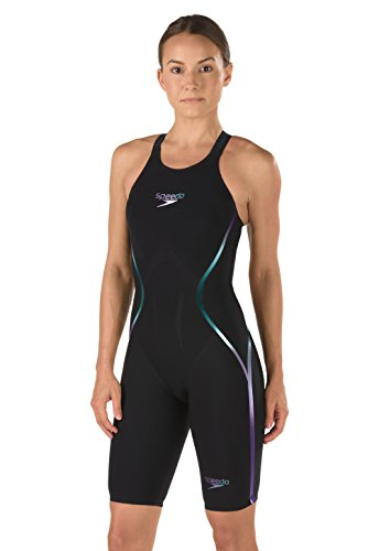 Speedo Fastskin LZR Racer X Open Back Kneeskin,Black/Blue (976),25