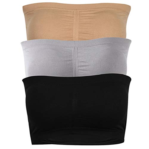 CLANDY Women's Bandeau Bra, No Underwire Push up Basic Bra Comfy Stretch Tube Top Bra for Daily Sleeping Wedding Sports Black Beige Gray 3 Pack M