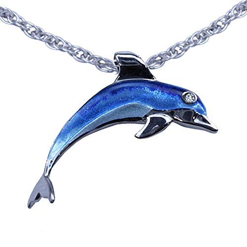 Guy Harvey Enameled Dolphin Pendant in Sterling Silver with an 18